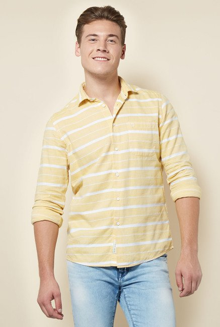 Integriti Yellow Slim Fit Cotton Shirt
