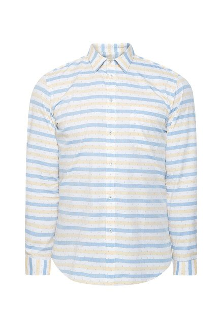 Integriti Off White & Blue Striped Slim Fit Shirt