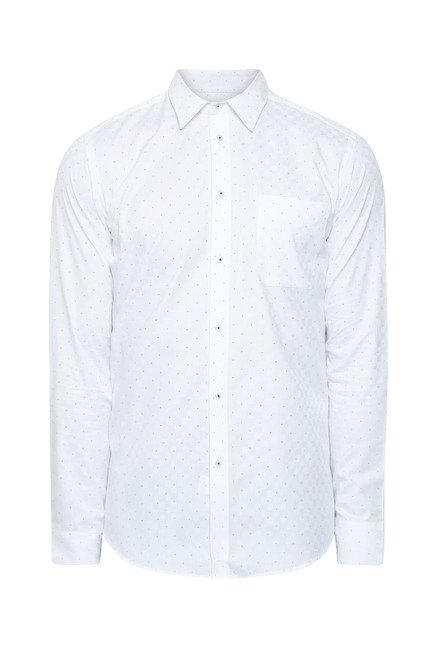 Integriti White Polka Dot Printed Shirt