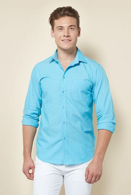 Integriti Sky Blue Solid Cotton Shirt
