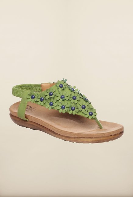 Pavers England Green Back Strap Sandals