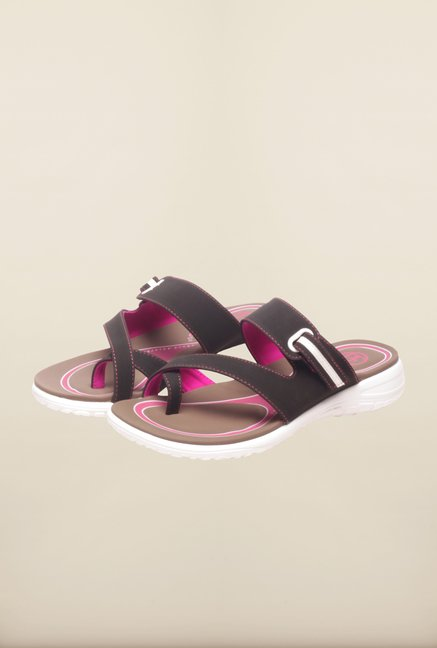 Pavers England Black Cross Strap Flat Sandals