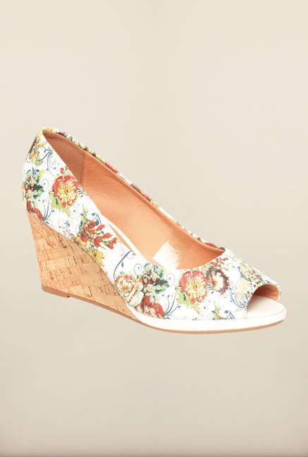 Pavers England White & Red Peeptoe Wedges