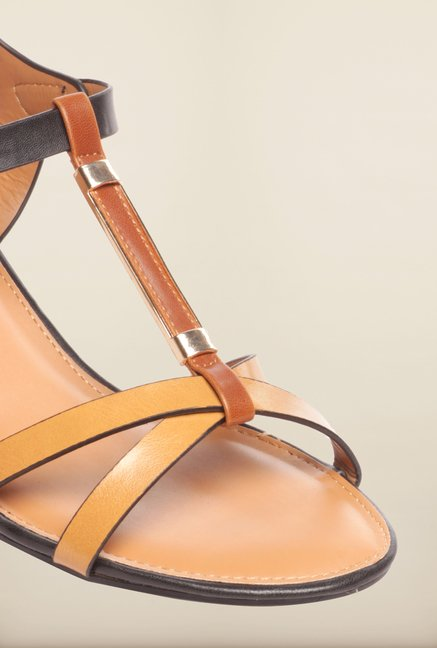 Pavers England Taupe & Black Ankle Strap Sandals