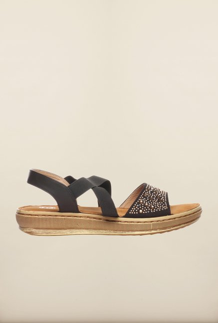 Pavers England Black Cross Strap Sandals