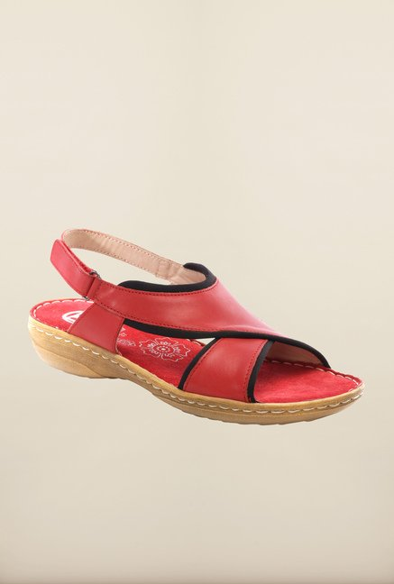 Pavers England Red Back Strap Sandals