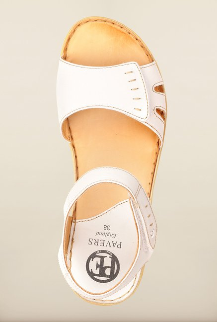 Pavers England White Ankle Strap Sandals