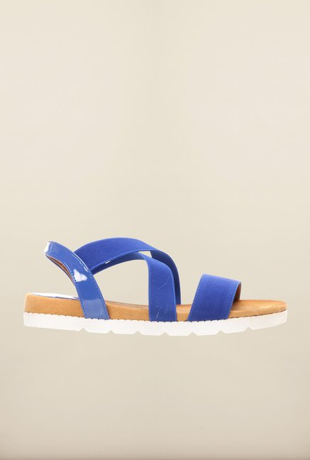 Pavers England Blue Cross Strap Sandals