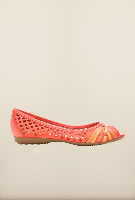 Pavers England Peach Peeptoe Shoes