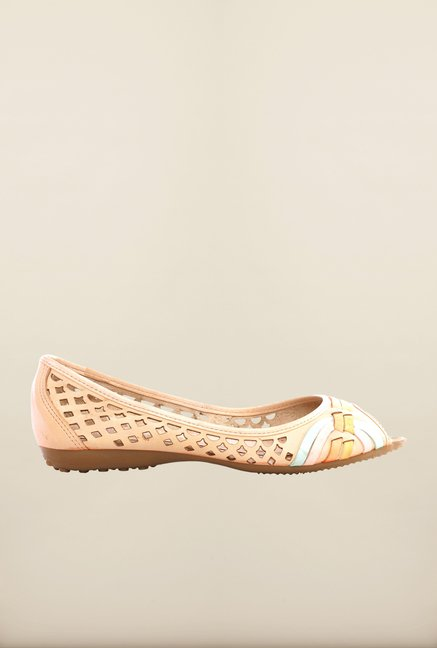 Pavers England Beige Peeptoe Shoes