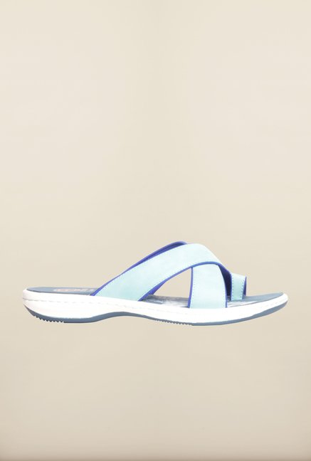 Pavers England Blue Cross Strap Flat Sandals