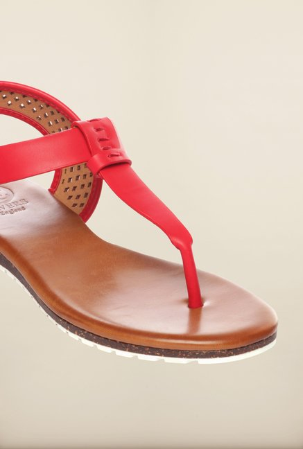 Pavers England Red Flat Sandals