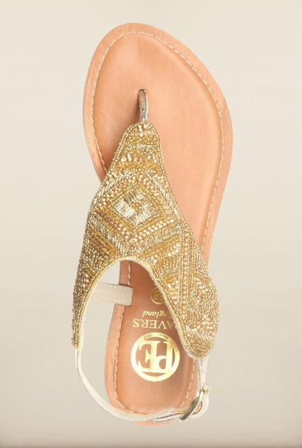 Pavers England Gold Flat Ethnic Sandals