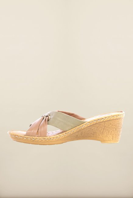Pavers England Green & Beige Wedges