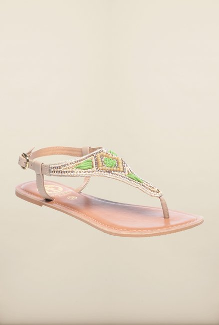Pavers England Beige & Green Flat Ethnic Sandals