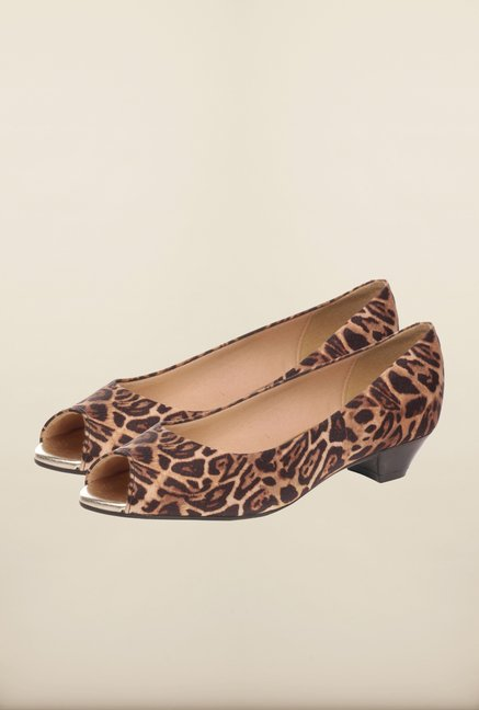 Pavers England Brown Peeptoe Shoes