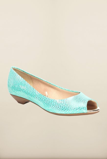 Pavers England Turquoise Peeptoe Shoes