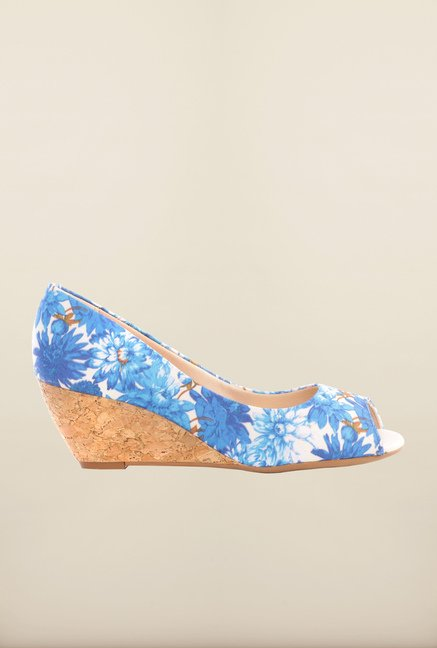 Pavers England Blue Peeptoe Wedges