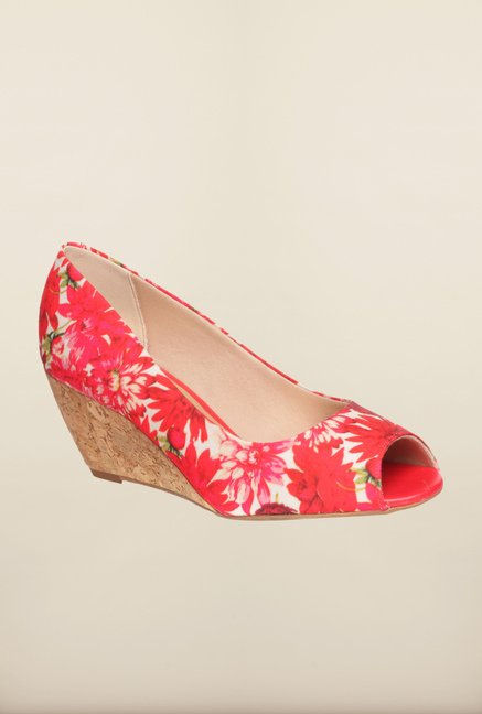 Pavers England Red Peeptoe Wedges