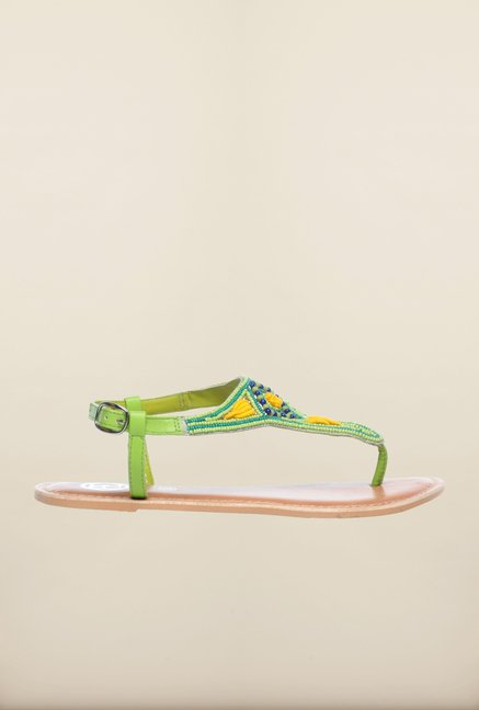 Pavers England Green Flat Ethnic Sandals