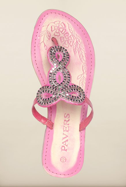 Pavers England Pink Flat Ethnic Sandals