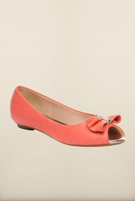 Pavers England Coral Peeptoe Shoes