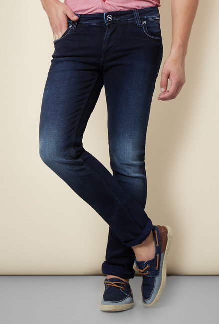 Integriti Indigo Solid Lightly Washed Jeans