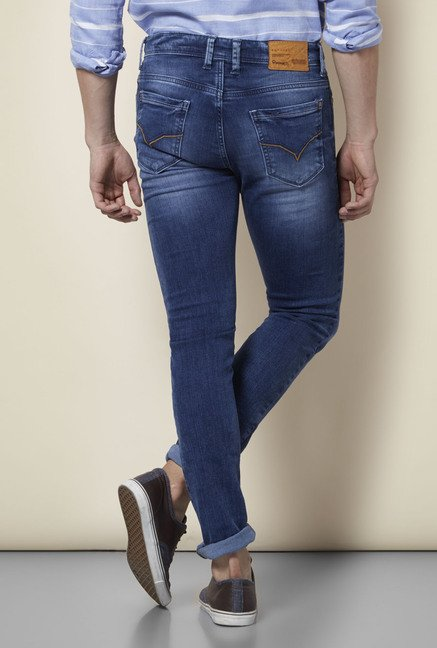 Integriti Blue Cotton Lightly Washed Jeans