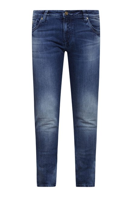 Integriti Dark Blue Solid Cotton Jeans