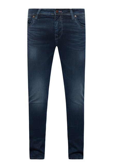 Integriti Navy Solid Lightly Washed Jeans