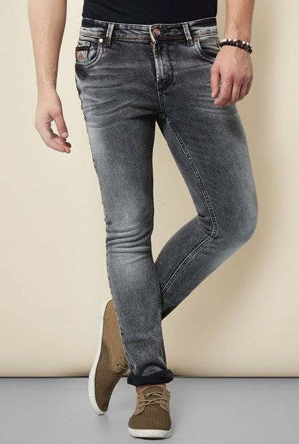 Integriti Grey Solid Cotton Jeans
