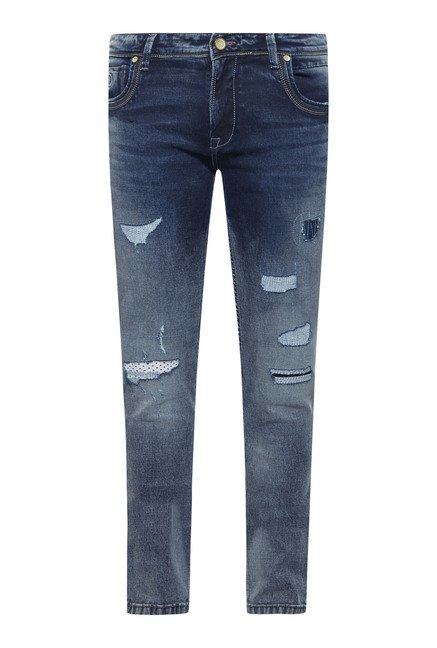Integriti Blue Cotton Tattered Jeans