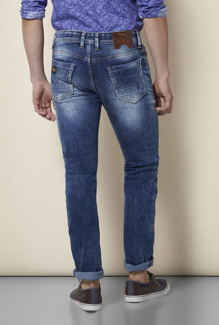 Integriti Dark Blue Solid Heavily Washed Jeans