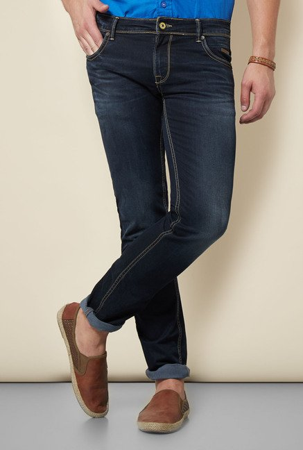 Integriti Dark Blue Skinny Fit Solid Jeans