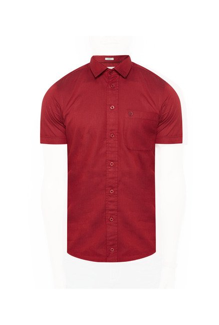 Integriti Maroon Solid Cotton Shirt