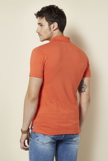 Integriti Orange Solid Polo T Shirt