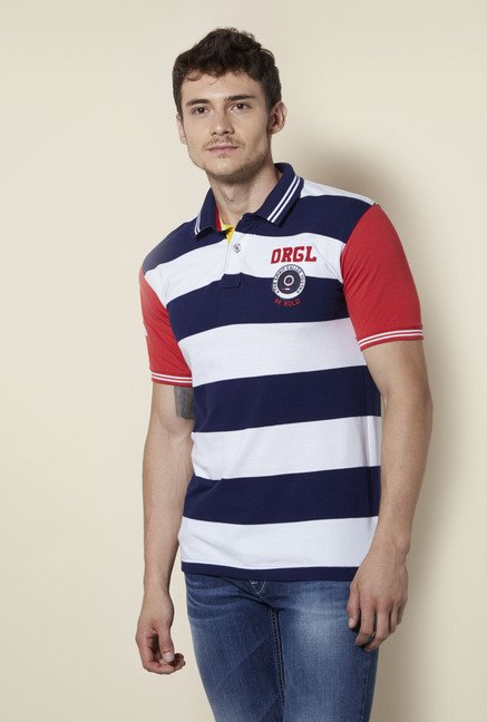 Integriti Navy & White Striped Polo T Shirt