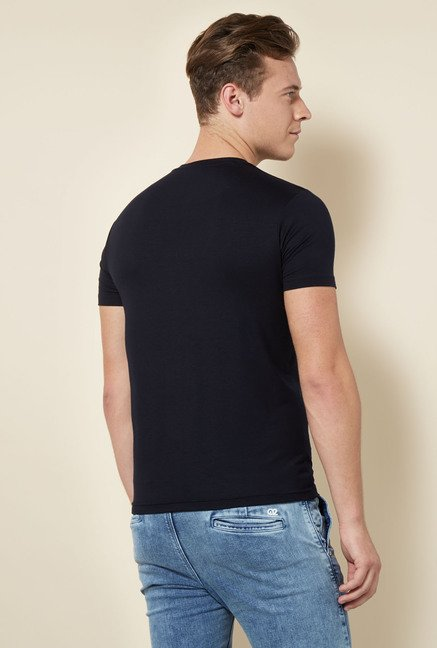 Integriti Black Printed Cotton T Shirt