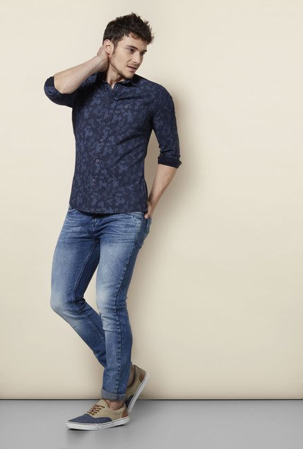 Integriti Navy Printed Cotton Shirt