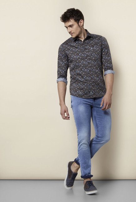 Integriti Brown & Blue Printed Shirt