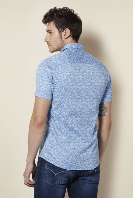 Integriti Sky Blue Printed Shirt