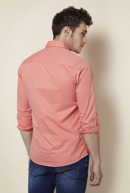 Integriti Peach Solid Cotton Shirt