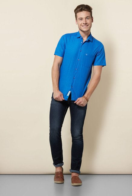 Integriti Royal Blue Solid Shirt