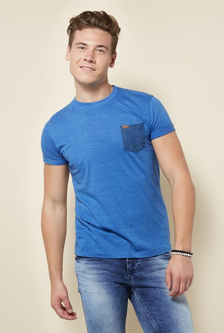 Integriti Blue Solid Crew Neck T Shirt