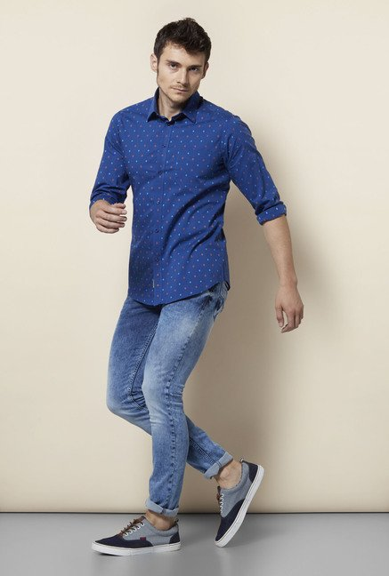 Integriti Navy Slim Fit Printed Cotton Shirt
