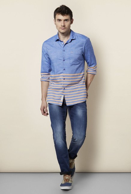 Integriti Blue & Orange Striped Shirt
