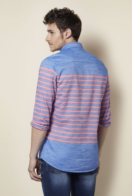 Integriti Blue & Coral Striped Shirt