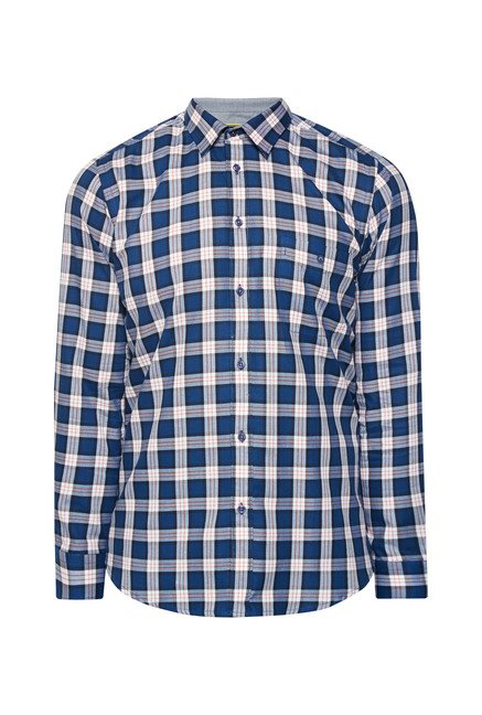 Integriti Navy Checks Cotton Shirt