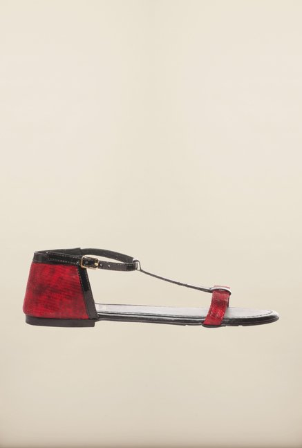 Pavers England Red & Black Ankle Strap Sandals