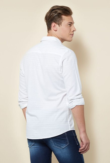 Integriti White Striped Cotton Shirt